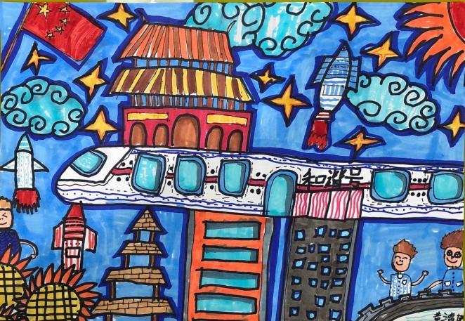 孩子们画笔下的泸州高铁梦